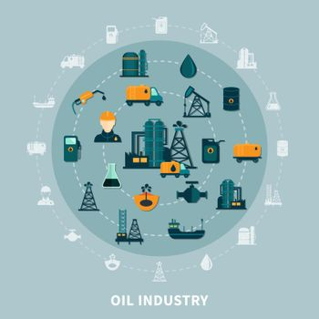 Petroleum Icons Round Composition