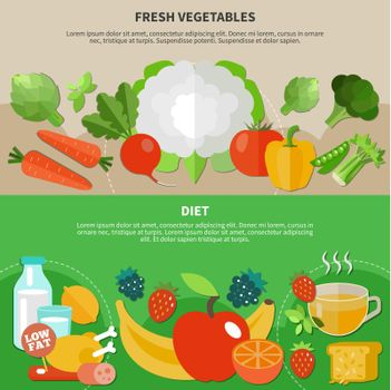 Healthy Eating Flat Composition Set
