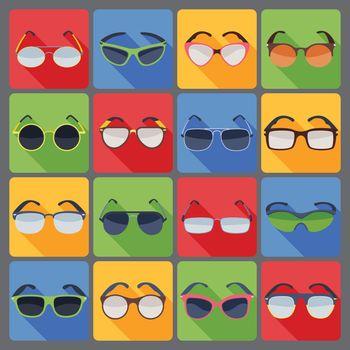 Sunglasses glasses fashion flat icons set