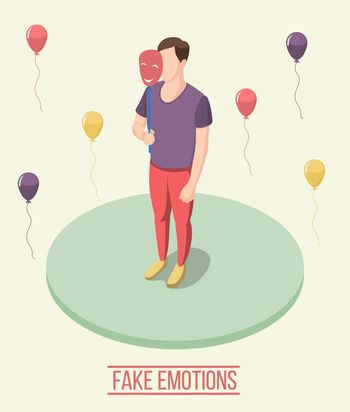 Fake Emotions Isometric Composition