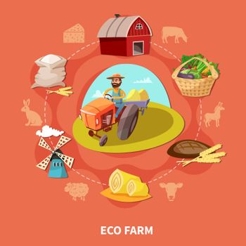 Farm Cartoon Colored Composition