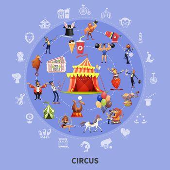 Circus Cartoon Round Composition