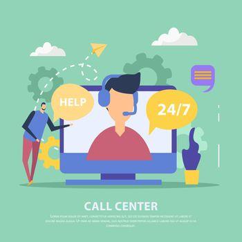 Call Center Flat Background