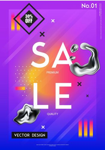 Sale Poster With Realistic Chrome Drips
