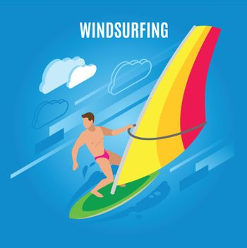 Wind Surfing Isometric Background