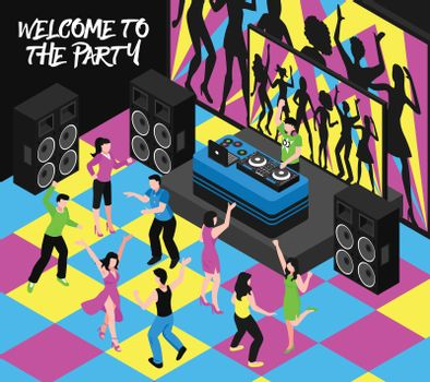 Dj And Party Isometric Illustration