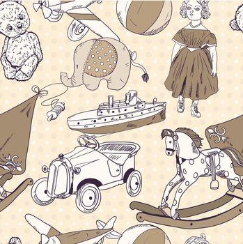 Toys sketch seamless pattern