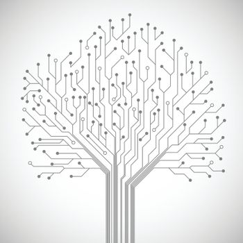 Circuit board tree symbol poster