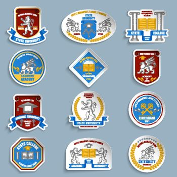 University badges pictograms set