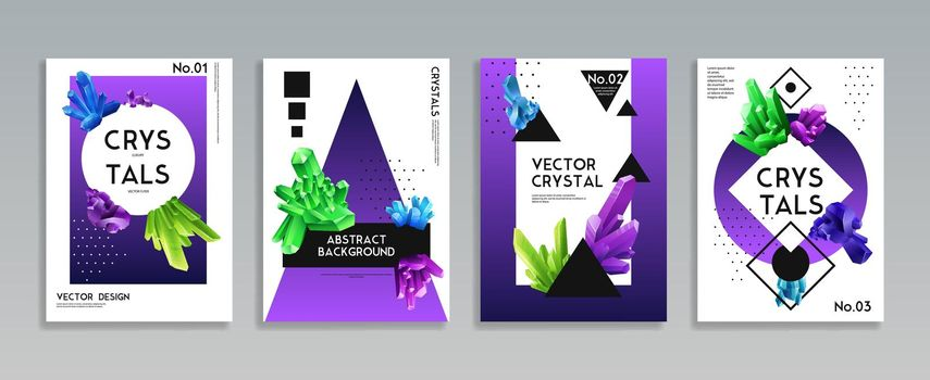 Crystal Banners Realistic Set