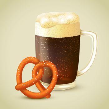 Dark beer and pretzel