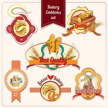 Bakery emblems set