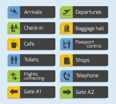 Airport Navigation Design Signboards Set