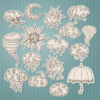 Doodle weather forecast stickers