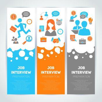 Job interview flat banner set