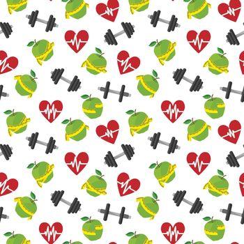Fitness symbols seamless pattern