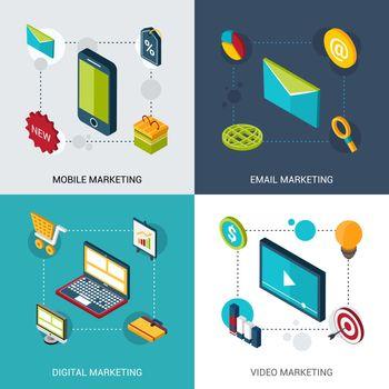 Marketing Isometric Set