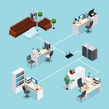 Office Computer Net Isometric Illustration