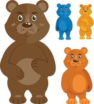 Decorative teddy bears icons set