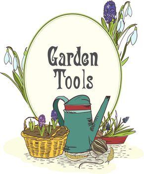Hand drawn gardening tools emblem