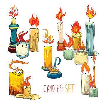 Candle set icons