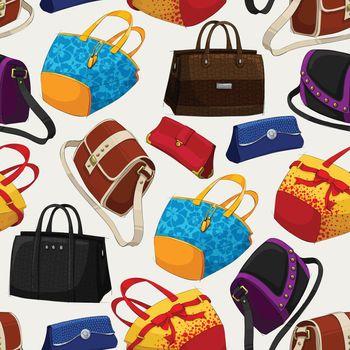 Seamless woman's fashion bags pattern