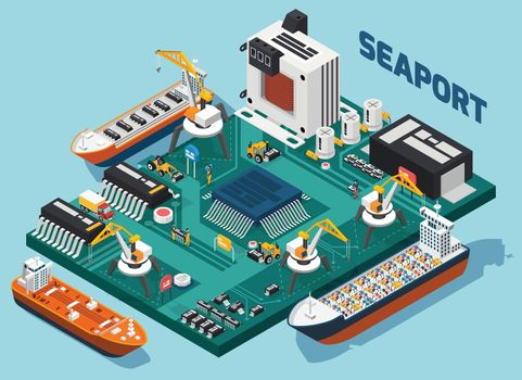 Semiconductor Electronic Components Isometric Seaport Composition