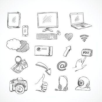 Doodle social media icons set