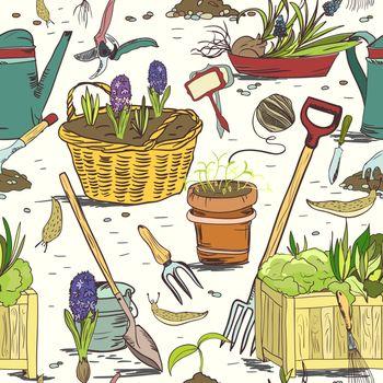 Seamless gardening tools pattern background