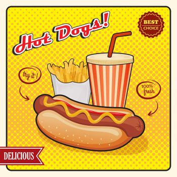 Hot Dogs Comic Style Poster