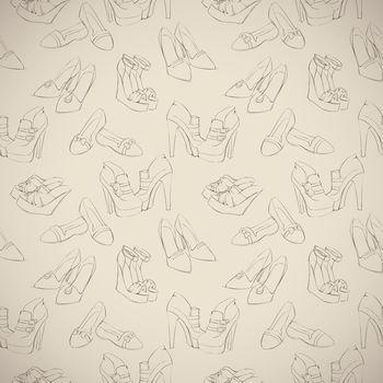 Seamless woman's stylish shoes sketch pattern