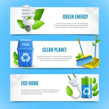 Ecology Realistic Paper Banners