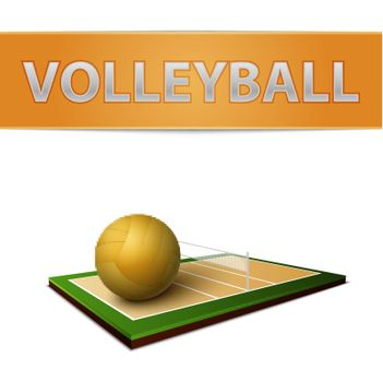 Volleyball ball and field emblem