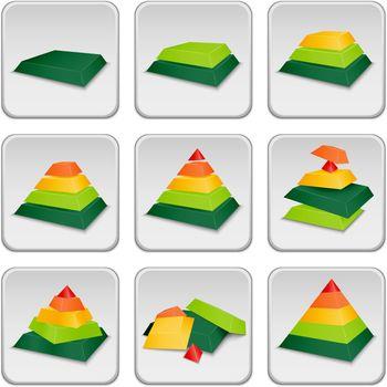 Pyramid status indicator icons