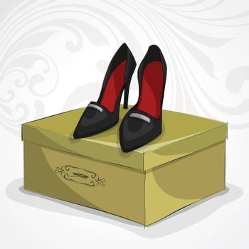 Classic woman's leather black shoes