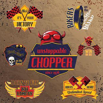 Motorcycle bike emblems set