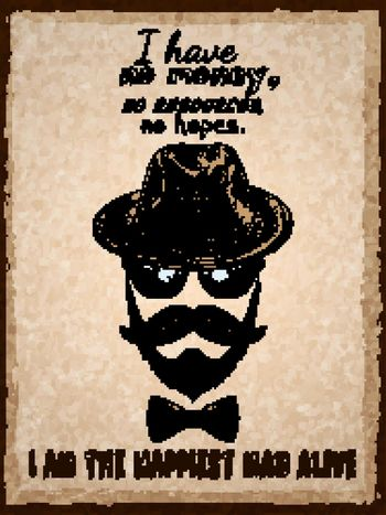 Hand drawn hipster poster print