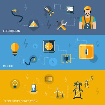 Electricity Banners Set
