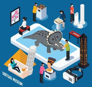 Virtual Travel Landmarks Museum Concept