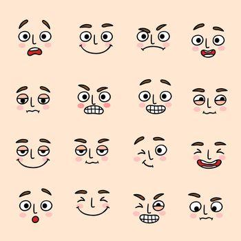 Facial mood expression icons set
