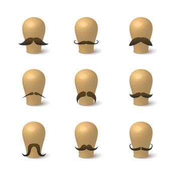 Collection of hipster mustaches on hat-blocks