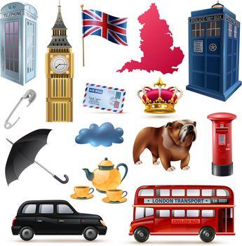 London England Icons Set