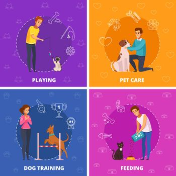 People With Pets 2x2 Cartoon Square Icons