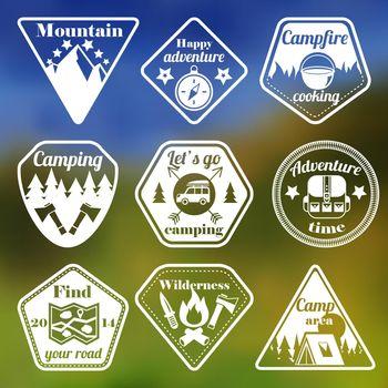 Outdoors tourism camping flat emblems set