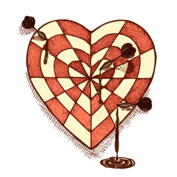 Target shaped heart with arrows emblem