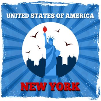 New York USA retro poster