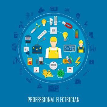 Professional Electrician Round Design