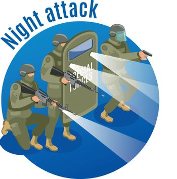 Night Attack Isometric Illustration