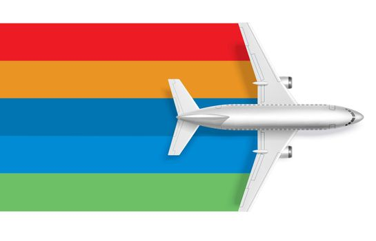 Airplane with blank rainbow for message text
