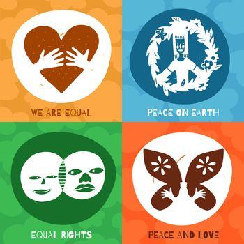 International Friendship Symbols Concept